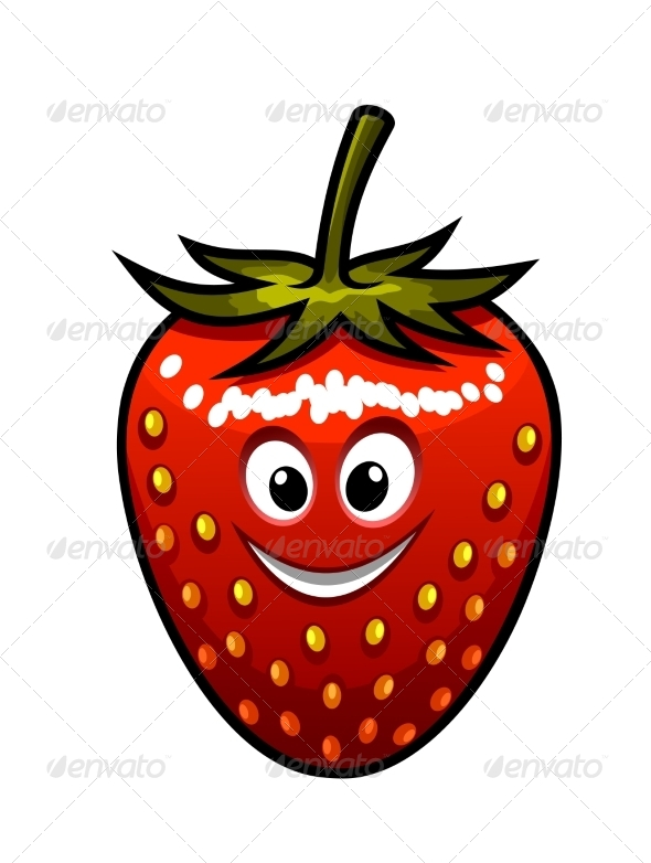 Smiling Strawberry with a Green Stalk - Miscellaneous Characters