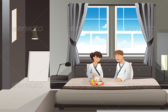 Couple Having Breakfast in Bed - People Characters