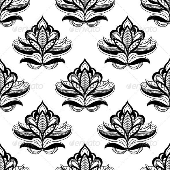 Persian Style Seamless Floral Motifs - Patterns Decorative