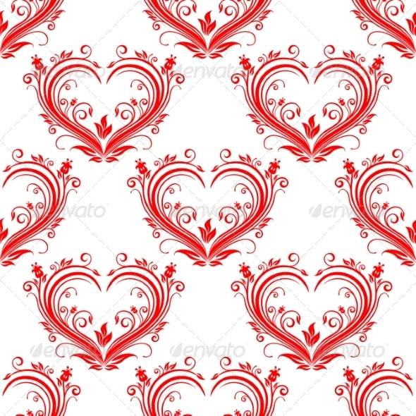 Seamless Pattern Ornate Floral Hearts - Patterns Decorative