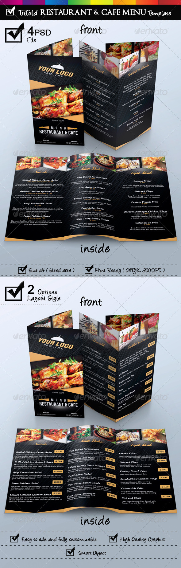 Trifold Restaurant & Cafe Menu Template - Food Menus Print Templates