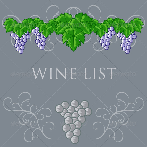 Vintage Wine List Cover Design - Decorative Vectors