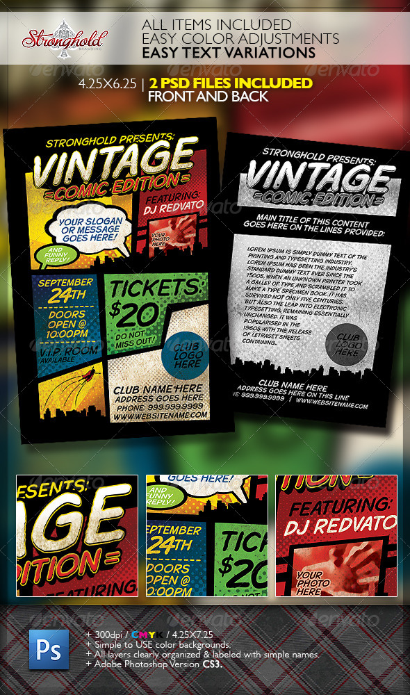 vintage comic book event flyer template flyers print templates