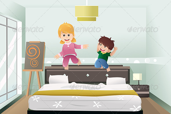 Kids Jumping on the Bed - People Characters