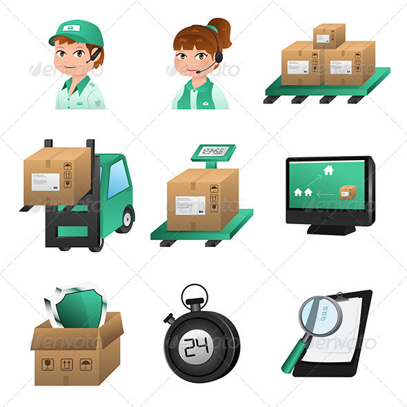 Logistic Icons - Objects Vectors