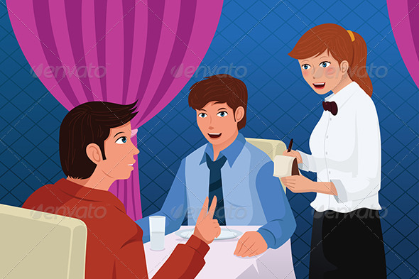 Waiter in a Restaurant Serving Customers - People Characters