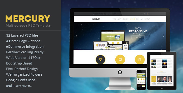 MERCURY – Multipurpose PSD Template