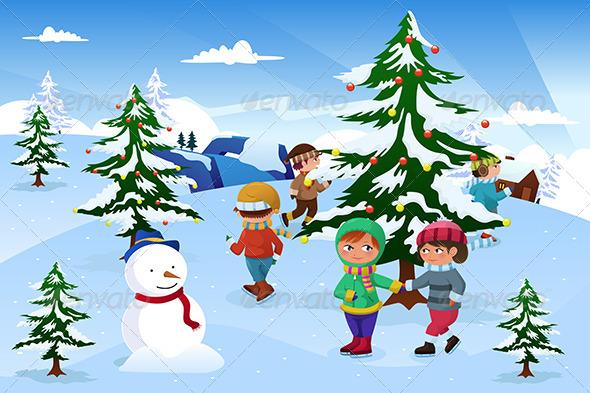 Kids Skating Around a Christmas Tree - Christmas Seasons/Holidays