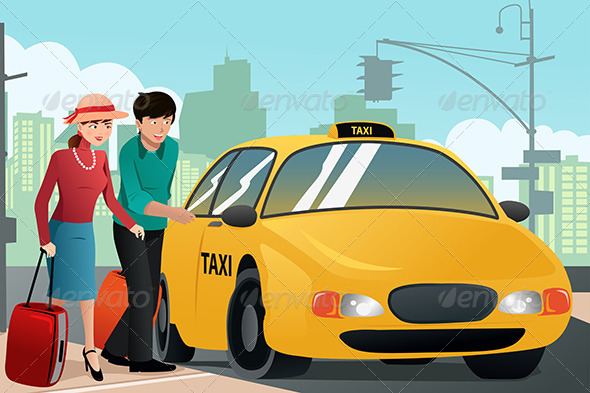 Couple on Vacation Calling a Taxi - Travel Conceptual
