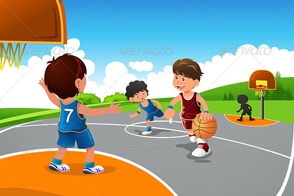 Kids Playing Basketball in a Playground - Sports/Activity Conceptual