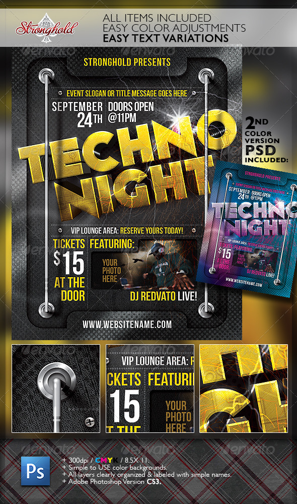 Techno Night Club Party Flyer Template - Flyers Print Templates