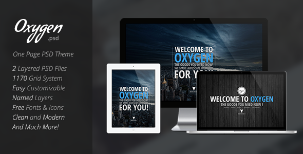 Oxygen One Page PSD Theme