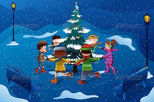 Children Skating Around a Christmas Tree - Christmas Seasons/Holidays
