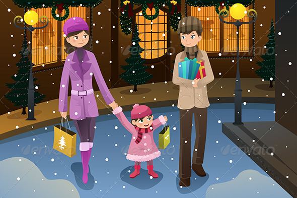 Family doing Christmas Shopping - Christmas Seasons/Holidays