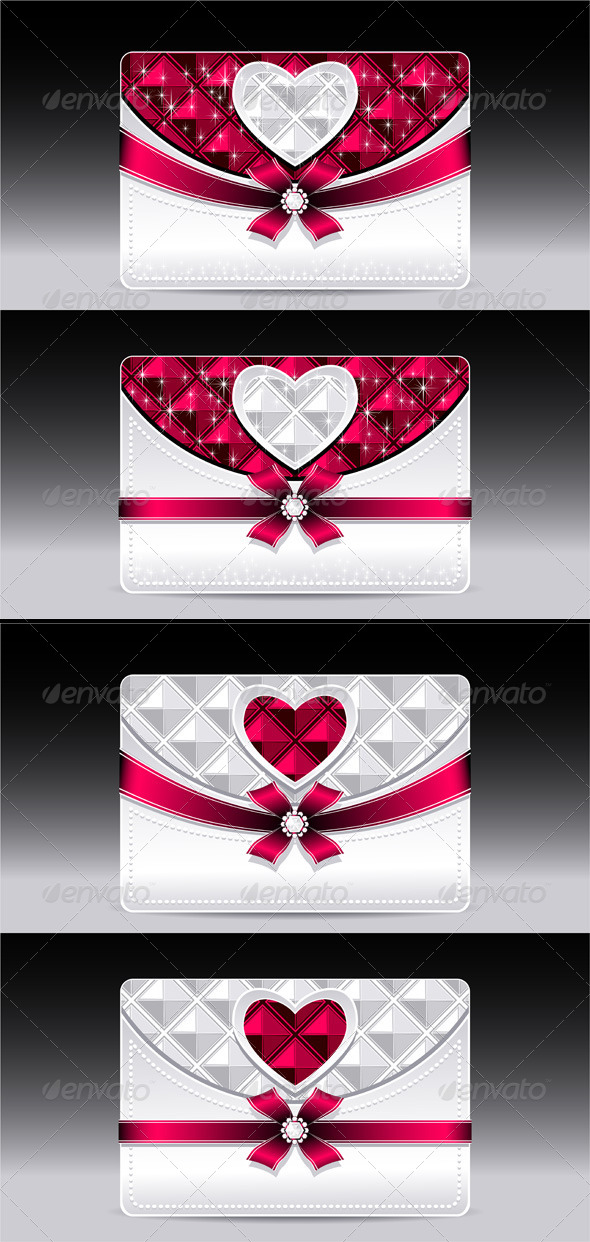 Gift Cards with Heart Geometric Pattern Red Bow  - Valentines Seasons/Holidays