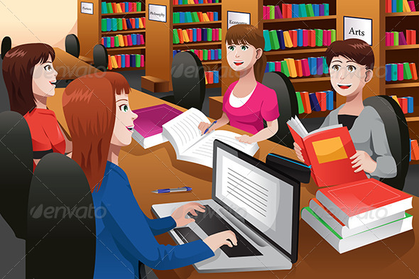 College Students Studying in a Library - People Characters