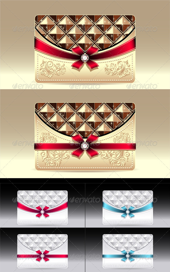 Gift Cards with Geometric Pattern Bow Ribbon  - Objects Vectors