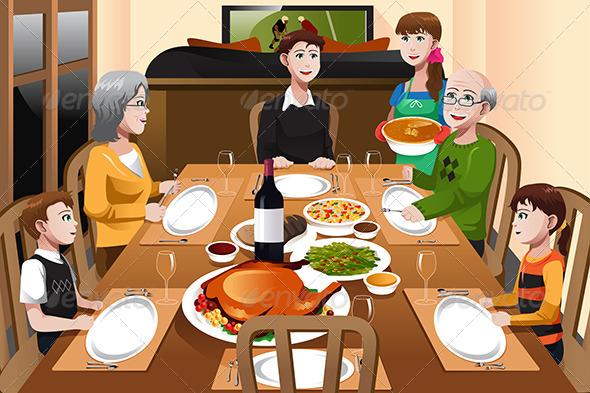 Family having a Thanksgiving Dinner - Seasons/Holidays Conceptual