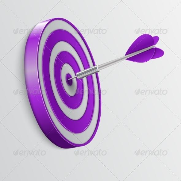 Dart Hitting a Target. Success Concept. - Abstract Conceptual