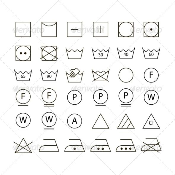 Set of Washing Symbols - Miscellaneous Icons