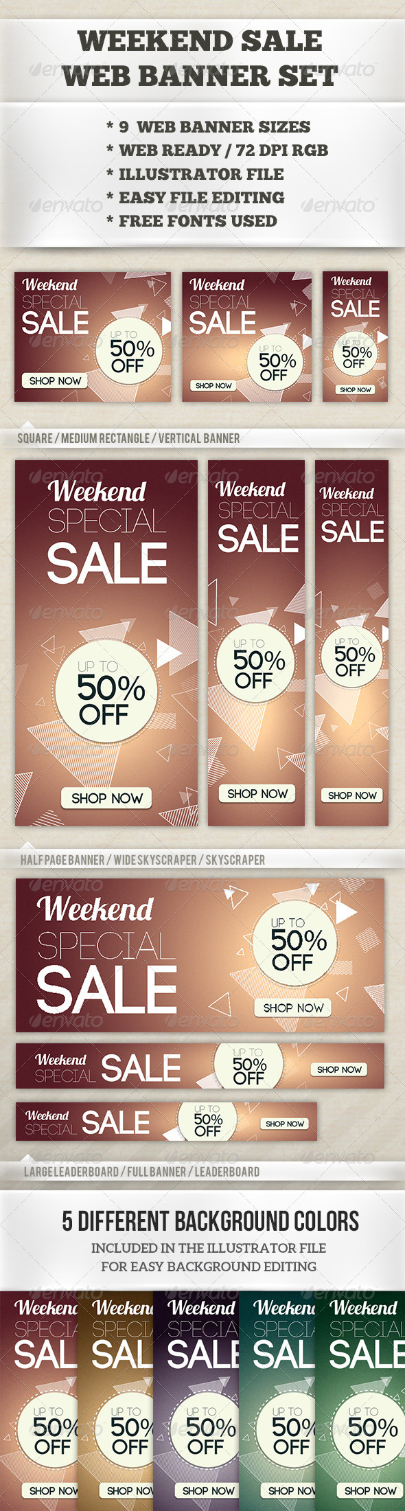Weekend Sale Web Banner Set - Banners & Ads Web Elements