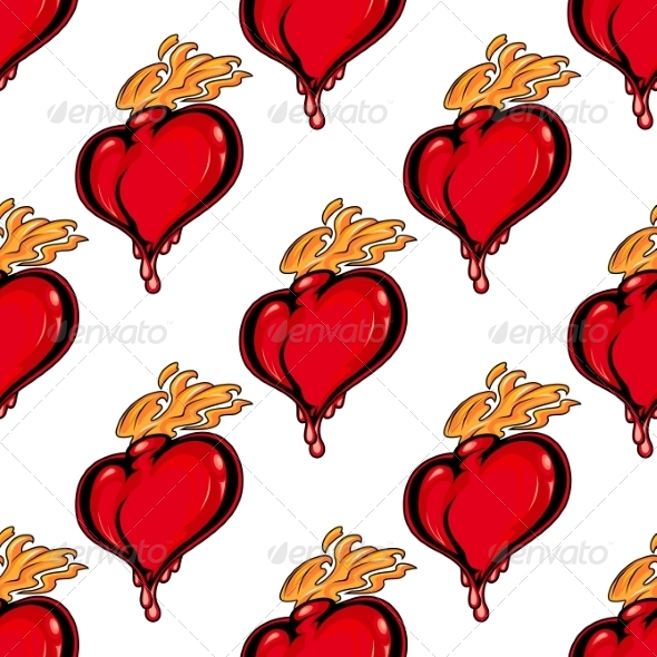 Seamless Pattern with Hearts on Fire - Patterns Decorative