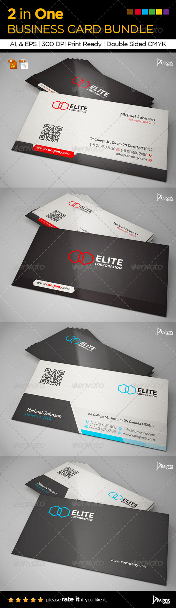 2 in One Business Card Bundle - Business Cards Print Templates