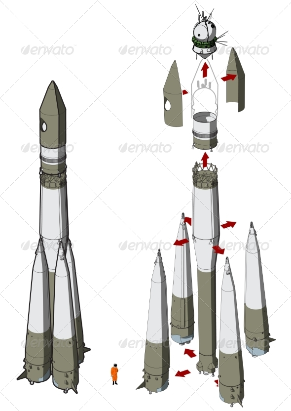 Space Rocket Infographics - Man-made Objects Objects