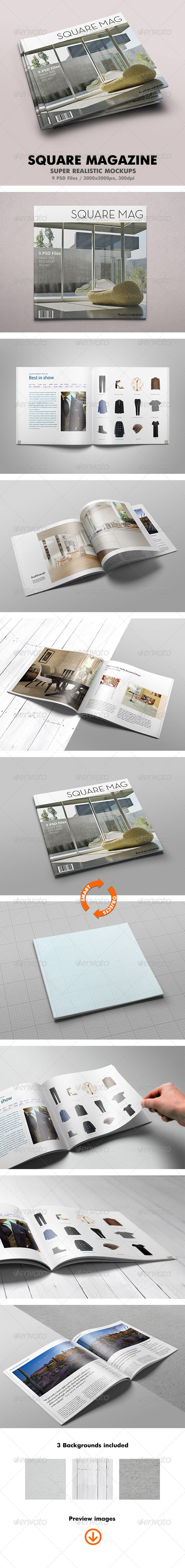 Square Magazine Mock-Up - Magazines Print