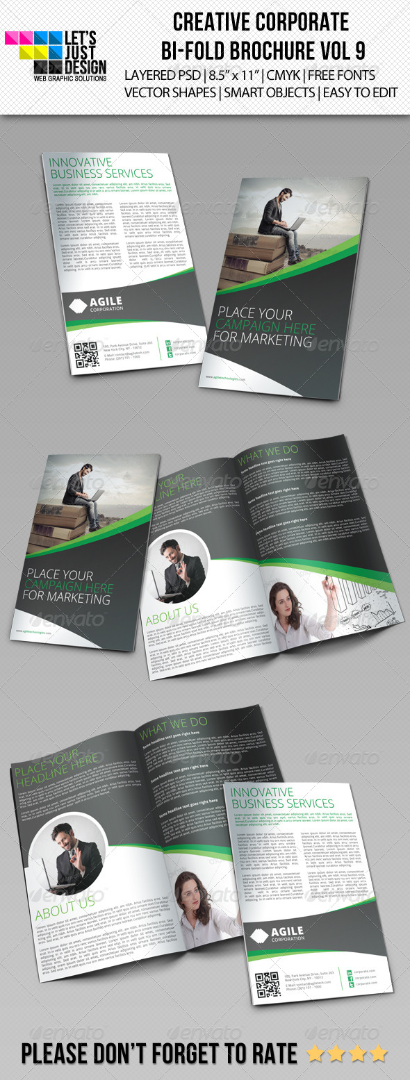 Creative Corporate Bi-Fold Brochure Vol 9 - Corporate Brochures