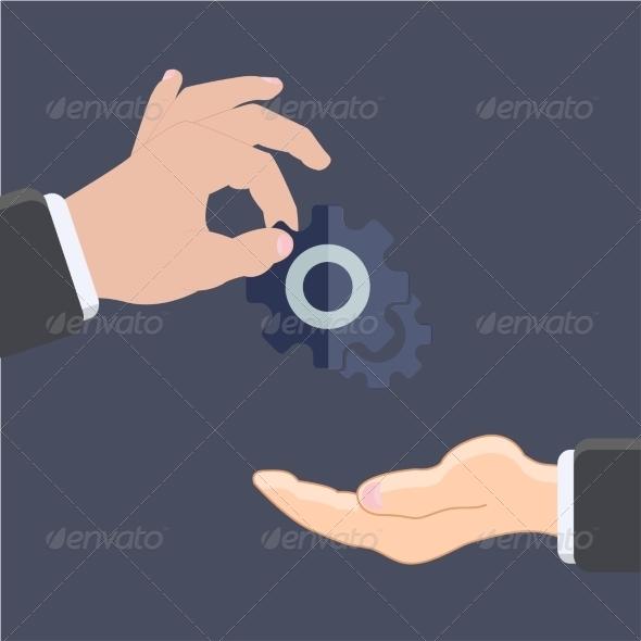 Flat Mechanism Icon Background - Web Technology