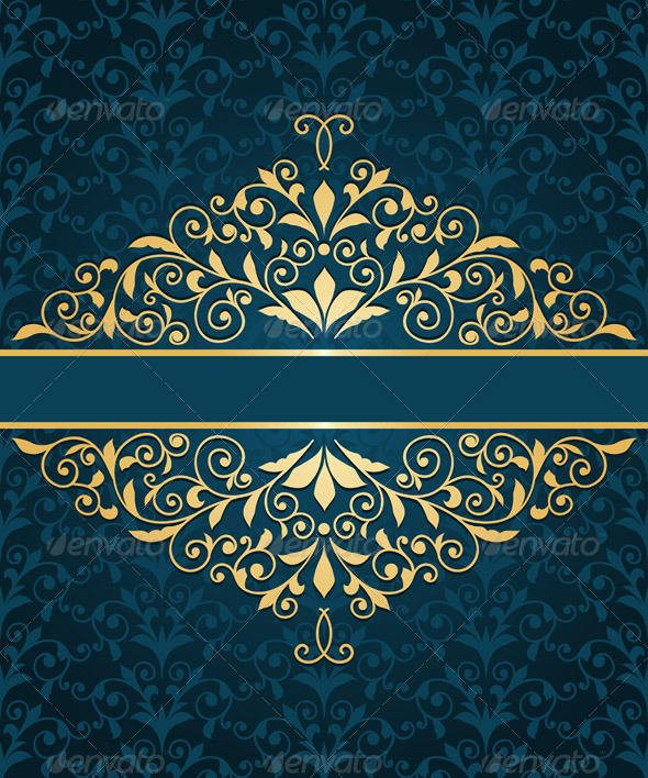 Gold Frame Greeting Card - Backgrounds Decorative