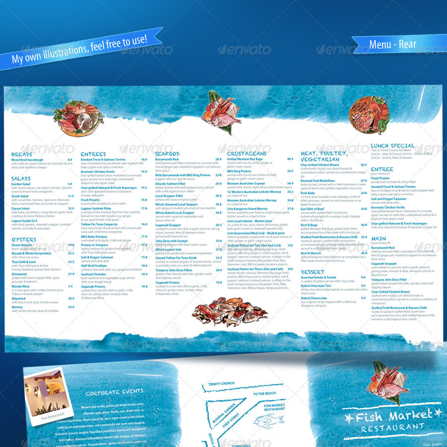 Seafood restaurant menu map card by boben graphicriver for Columbus fish market menu