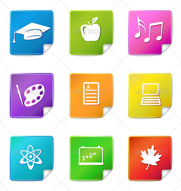 Education Stickers Icons  - Web Elements Vectors