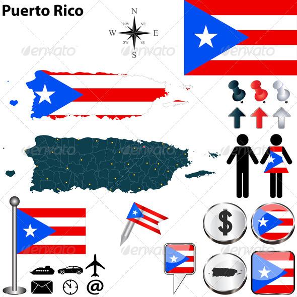 Map of Puerto Rico - Travel Conceptual