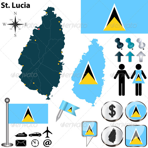 Map of St. Lucia - Travel Conceptual