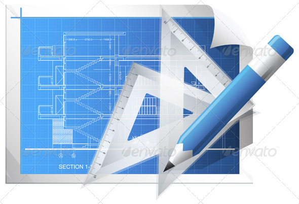 Blueprint Sheet - Illustration - Technology Conceptual