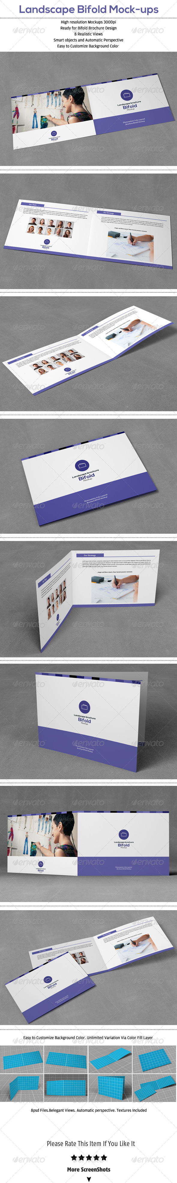 Landscape Bifold Brochure Mock-Up - Brochures Print