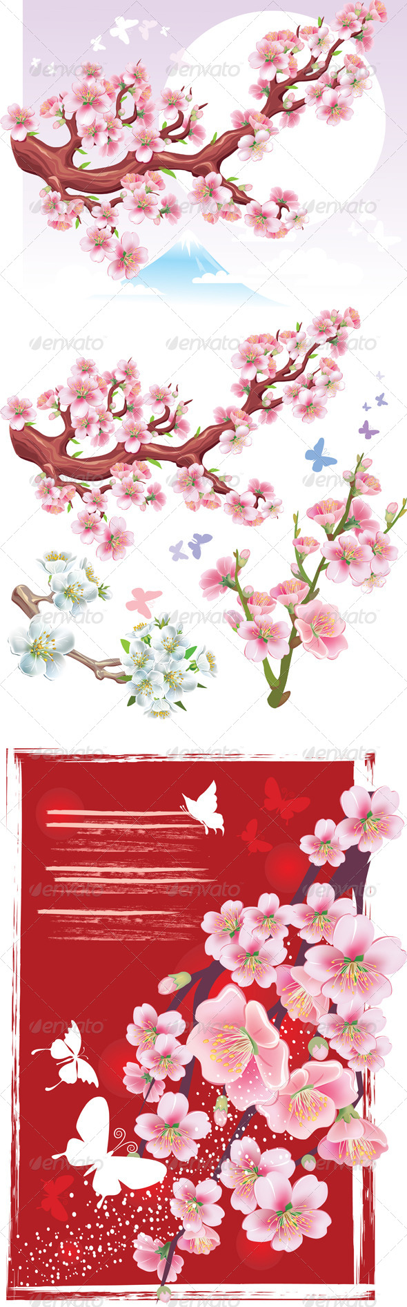 Set of Flowering Branch of Sakura - Flowers & Plants Nature