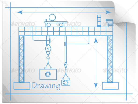 Technical Drawing Gantry Crane - Illustration - Technology Conceptual