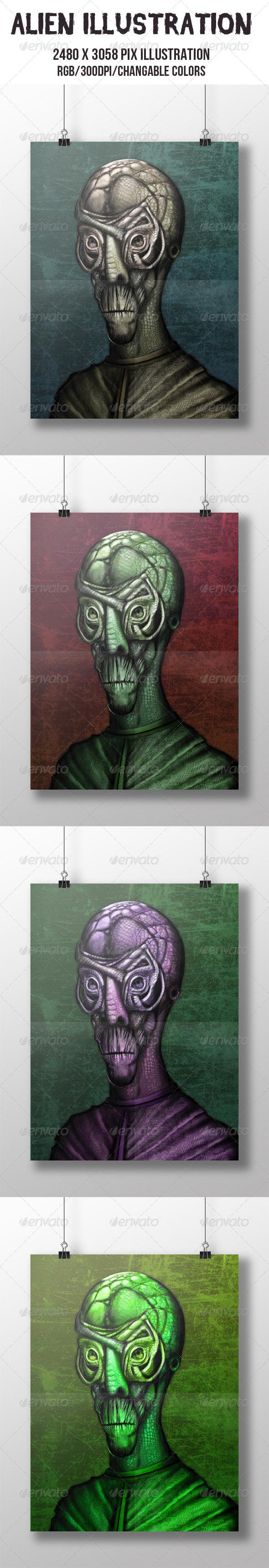 Alien Illustration - Illustrations Graphics