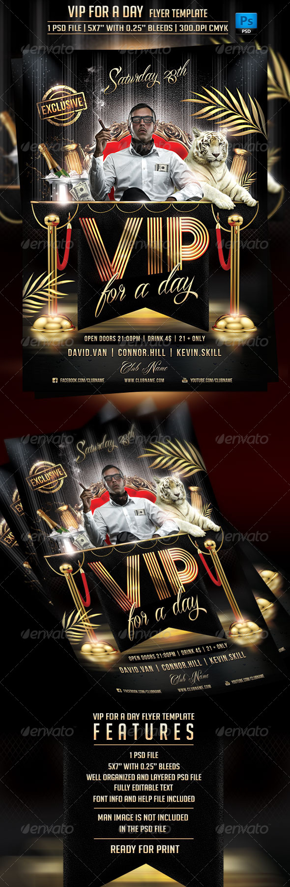 VIP For a Day Flyer Template - Flyers Print Templates