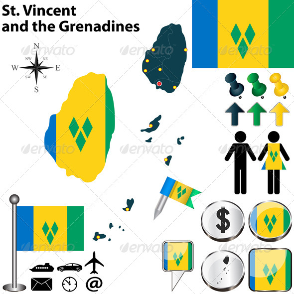 Map of St. Vincent and the Grenadines - Travel Conceptual