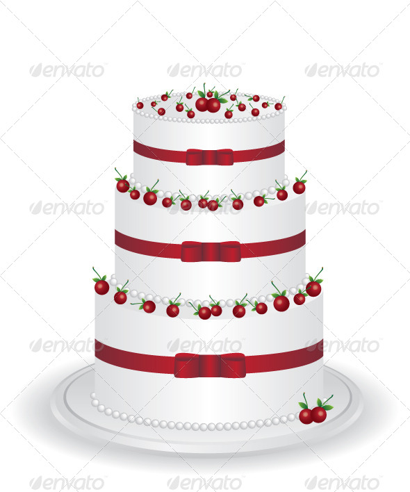 White Cake with Cherry - Food Objects