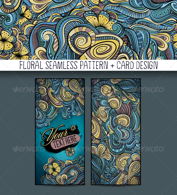 Decorative Floral Pattern and Card Design - Decorative Vectors