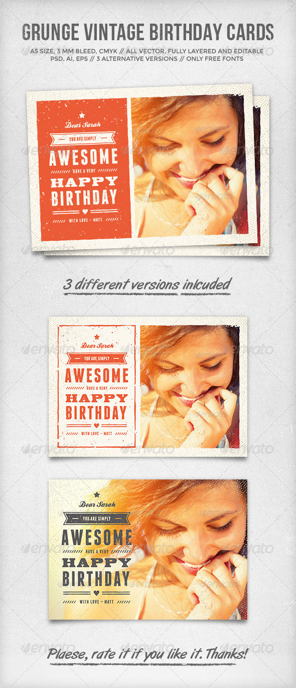 Grunge Vintage Birthday Cards By Graphicgoods Graphicriver