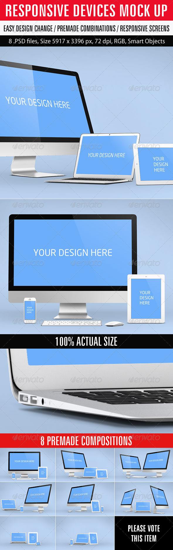 Responsive Devices Mock Up - Displays Product Mock-Ups