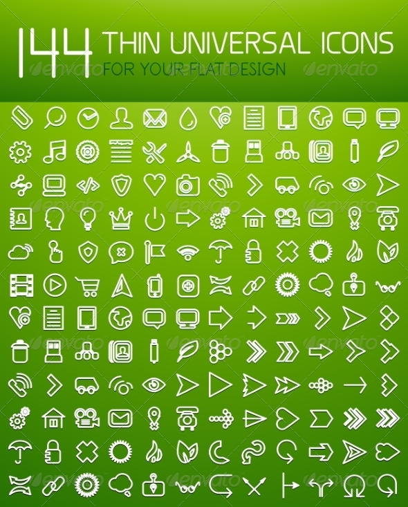 Large Set of Thin Universal Web Icons - Computers Technology