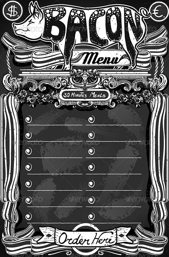 Vintage Bacon Menu on Blackboard for Restaurant - Food Objects