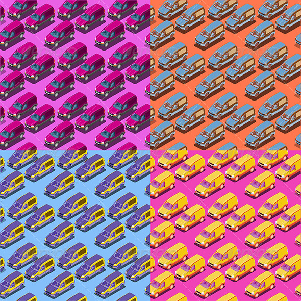 Four Seamless Isometric Car Patterns - Patterns Decorative